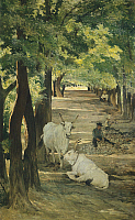0318224 © Granger - Historical Picture ArchiveFINE ART.   Avenue with Oxen and Stonebreaker, by Giovanni Fattori (1825-1908). Full Credit: DEA / A. DAGLI ORTI / Granger, NYC -- All Rights Reserved.