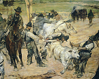 0318225 © Granger - Historical Picture ArchiveFINE ART.   Branding of young bulls in Maremma, ca 1887, by Giovanni Fattori (1825-1908), 86x172 cm. Detail. Full Credit: DEA / A. DAGLI ORTI / Granger, NYC -- All rights reserved.