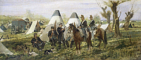 0318242 © Granger - Historical Picture ArchiveFINE ART.   Military post at the camp, 1874, by Giovanni Fattori (1825-1908), oil on canvas, 45.5x105 cm. Full Credit: DEA / A. DAGLI ORTI / Granger, NYC -- All rights reserved.