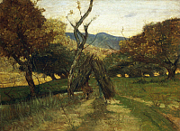 0318265 © Granger - Historical Picture ArchiveFINE ART.   The woodpile, ca 1874, by Giovanni Fattori (1825-1908), oil on canvas. Full Credit: DEA / A. DAGLI ORTI / Granger, NYC -- All Rights Reserved.