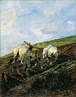 0318369 © Granger - Historical Picture ArchiveFINE ART.   The plowing, 1881-1882, by Giovanni Fattori (1825-1908), oil on canvas. Full Credit: DEA PICTURE LIBRARY / Granger, NYC -- All Rights Reserved.
