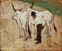 0318374 © Granger - Historical Picture ArchiveFINE ART.   Herdsman and cattle, by Giovanni Fattori (1825-1908), oil on panel, 10.5x13 cm. Full Credit: DEA / BARDAZZI / Granger, NYC -- All rights reserved.