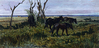 0318377 © Granger - Historical Picture ArchiveFINE ART.   Horses grazing, by Giovanni Fattori (1825-1908). Full Credit: DEA / BARDAZZI / Granger, NYC -- All rights re