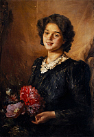 0318435 © Granger - Historical Picture ArchiveFINE ART.   Half figure of a woman with flowers, by Nicola Biondi (1886-1929), oil on canvas, 90x62 cm. Full Credit: DEA / PEDICINI / Granger, NYC -- All rights reserved.