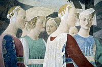 0318709 © Granger - Historical Picture ArchiveFINE ART.   Adoration of the wood and the meeting of the Queen of Sheba and King Solomon, detail from the Legend of the True Cross, 1452-1466, by Piero della Francesca (1415/20-1492), fresco. Church of San Francesco, Arezzo. Full Credit: DEA / S. VANNINI / Granger, NYC -- All rights reserved.