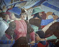 0318729 © Granger - Historical Picture ArchiveFINE ART.   The Battle of Heraclius I of Byzantium against Chosroes II, detail from the Legend of the True Cross, 1452-1466, by Piero della Francesca (1415/20-1492), fresco. Church of San Francesco, Arezzo. Full Credit: DEA / S. VANNINI / Granger, NYC -- All Rights Reserved.
