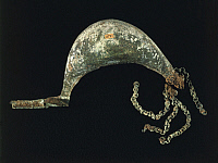 0319055 © Granger - Historical Picture ArchivePREHISTORIC ART.   Prehistory, Italy, Bronze Age. Fibula in the shape of a boat. From Marche Region. Full Credit: DEA / A. DAGLI ORTI / Granger, NYC -- All rights reserved.