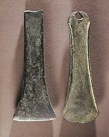 0319596 © Granger - Historical Picture ArchivePREHISTORIC ART.   Prehistory, France, Bronze Age, Calcolithic - Bronze flat axes from Abbeville. Full Credit: DEA / G. DAGLI ORTI / Granger, NYC -- All rights reserved.