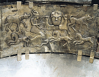 0319881 © Granger - Historical Picture ArchivePREHISTORIC ART.   Celtic civilization, Denmark, 1st century b.C. Gundestrup cauldron, decorated silver vessel. Detail of the internal decoration. Full Credit: DEA / A. DAGLI ORTI / Granger, NYC -- All rights reserved.