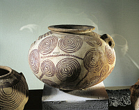 0320014 © Granger - Historical Picture ArchivePREHISTORIC ART.   Egyptian civilization, Predynastic Period, Naqada II or Gerzean Period, circa 3600-3250 b.C. Painted clay vase, decorated with spiral motifs, height 21.3 cm. Full Credit: DEA PICTURE LIBRARY / Granger, NYC -- All rights r