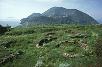 0320176 © Granger - Historical Picture ArchivePREHISTORIC ART.   Italy - Sicily Region - Eolie Islands, province of Messina - Filicudi Island - Ruins of the prehistoric village of Capo Graziano. Full Credit: DEA / G. ROLI / Granger, NYC -- All Rights Reserved.