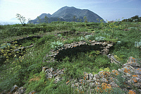 0320177 © Granger - Historical Picture ArchivePREHISTORIC ART.   Italy - Sicily Region - Eolie Islands, province of Messina - Filicudi Island - Ruins of the prehistoric village of Capo Graziano. Full Credit: DEA / G. ROLI / Granger, NYC -- All Rights Reserved.