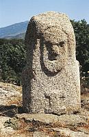 0320575 © Granger - Historical Picture ArchivePREHISTORIC ART.   France - Corsica - Corse-du-Sud. Filitosa Archaeological Site. Second Neolithic Age to Bronze Age. Anthropomorphic menhir statuary, 4th-2nd millennium b.C. Full Credit: DEA PICTURE LIBRARY / Granger, NYC -- All rights res