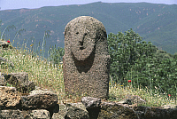 0320594 © Granger - Historical Picture ArchivePREHISTORIC ART.   France - Corsica - Filitosa prehistoric archaeological site. Anthropomorphic menhir statue. Full Credit: DEA / S. VANNINI / Granger, NYC -- All rights reserved.