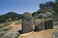 0320596 © Granger - Historical Picture ArchivePREHISTORIC ART.   France - Corsica - Filitosa prehistoric archaeological site. Menhir statues. Full Credit: DEA / S. VANNINI / Granger, NYC -- All rights reserved.