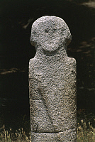 0320598 © Granger - Historical Picture ArchivePREHISTORIC ART.   France - Corsica - Filitosa prehistoric archaeological site. Anthropomorphic menhir statue. Full Credit: DEA / S. VANNINI / Granger, NYC -- All rights reserved.