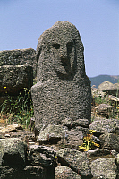 0320600 © Granger - Historical Picture ArchivePREHISTORIC ART.   France - Corsica - Filitosa prehistoric archaeological site. Anthropomorphic menhir statue. Full Credit: DEA / S. VANNINI / Granger, NYC -- All rights reserved.
