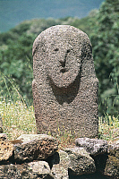 0320601 © Granger - Historical Picture ArchivePREHISTORIC ART.   France - Corsica - Filitosa prehistoric archaeological site. Anthropomorphic menhir statue. Full Credit: DEA / S. VANNINI / Granger, NYC -- All rights reserved.