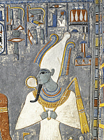 0321075 © Granger - Historical Picture ArchiveANCIENT EGYPT.   Egypt, Thebes (UNESCO World Heritage List, 1979) - Luxor - Valley of the Kings - Tomb of Horemheb. Vestibule. Mural paintings. Osiris (Dynasty 19, Horemheb, 1333-1306 BC) (KV57 - 332837). Full Credit: DEA / S. VANNINI / Granger, NYC -- All Rights Reserved.