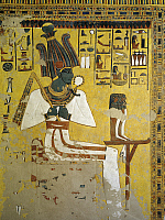 0321102 © Granger - Historical Picture ArchiveANCIENT EGYPT.   Egypt, Thebes (UNESCO World Heritage List, 1979) - Luxor - Valley of the Queens. Tomb of Nefertari. Antechamber to burial chamber. Mural paintings. Osiris. Red belt symbolizes assimilation of Osiris and Nefertari (Dynasty 19, Ramses II, 1290-1224 BC) (QV66 - 333356). Full Credit: DEA / S. VANNINI / Granger, NYC -- All rights reserved.