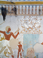 0321348 © Granger - Historical Picture ArchiveANCIENT EGYPT.   Egypt, Thebes (UNESCO World Heritage List, 1979) - Luxor. Sheikh 'Abd al-Qurna. Tomb of royal cupbearer Suemnut. Mural paintings. Votive offerings (Dynasty 18, Amenhotep II, 1438-1312 BC) (TT92 - 336560). Full Credit: DEA / S. VANNINI / Granger, NYC -- All rights reserved.