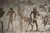 0322067 © Granger - Historical Picture ArchiveANCIENT EGYPT.   Egypt - Ancient Thebes (UNESCO World Heritage List, 1979). Necropolis. Private tomb of Rekhmire, New Kingdom, 18th Dynasty. Vestibule. Mural paintings of tributes from foreign peoples. Detail of giraffe from Punt. Full Credit: DEA / G. LOVERA / Granger, NYC -- All rights reserved.