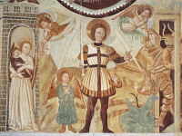 0326885 © Granger - Historical Picture ArchiveART & ARCHITECTURE.   15th-16th fresco in the Baptistery of St John of the Church of Santa Maria Extra Moenia, Antrodoco. Italy, 15th-16th century. Full credit: De Agostini / A. De Gregorio / Granger, NYC -- All rights reserved.