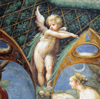 0326926 © Granger - Historical Picture ArchiveART & ARCHITECTURE.   A cherub and Diana's face, detail from the Myth of Diana and Actaeon, ca. 1524, by Francesco Mazzola known as Parmigianino (1503-1540), fresco, west side of the Room of Diana and Actaeon, Rocca Sanvitale, Fontanellato, near Parma, Emilia-Romagna. Italy, 16th century. Full credit: De Agostini / G. Cigolini / Granger, NYC -- All rights re