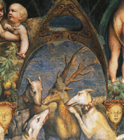 0326959 © Granger - Historical Picture ArchiveART & ARCHITECTURE.   Actaeon being attacked by dogs, detail from the Myth of Diana and Actaeon, ca. 1524, by Francesco Mazzola, known as Parmigianino (1503-1540), fresco, north side of the Room of Diana and Actaeon, Rocca Sanvitale, Fontanellato, near Parma, Emilia-Romagna . Italy, 16th century. Full credit: De Agostini / A. De Gregorio / The Granger Collec