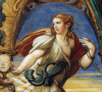 0326962 © Granger - Historical Picture ArchiveART & ARCHITECTURE.   Actaeon, a male figure with feminine features, detail from the Myth of Diana and Actaeon, ca. 1524, by Francesco Mazzola, known as Parmigianino (1503-1540), fresco, south side of the Room of Diana and Actaeon, Rocca Sanvitale, Fontanellato, near Parma, Emilia-Romagna. Italy, 16th century. Full credit: De Agostini / G. Cigolini / The Gra
