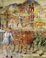 0327017 © Granger - Historical Picture ArchiveART & ARCHITECTURE.   Agricultural picture, detail from Triumph of Ceres, scene from Month of August, ca 1470, attributed to Cosimo Tura, (ca 1430-1495) and Master of Ercole, fresco, north wall, Hall of the Months, Palazzo Schifanoia (Palace of Joy), Ferrara, Emilia-Romagna. Italy, 15th century. Full credit: De Agostini / A. De Gregorio / The Granger Collect