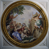 0327058 © Granger - Historical Picture ArchiveART & ARCHITECTURE.   Allegory of Autumn, fresco by Carlo Maratta (1625-1713) and Ciro Ferri (1634-1689), Villa Falconieri La Rufina, Frascati. Italy, 17th century. Full credit: De Agostini / A. De Gregorio / Granger, NYC -- All rights rese