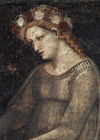 0327060 © Granger - Historical Picture ArchiveART & ARCHITECTURE.   Allegory of Charity, by the Master of Minerbi House, fresco, Allegory salon, Minerbi House, Ferrara, Emilia-Romagna. Detail. Italy, 14th century. Full credit: De Agostini / M. Carrieri / Granger, NYC -- All rights rese