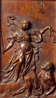 0327075 © Granger - Historical Picture ArchiveART & ARCHITECTURE.   Allegory of Justice, detail of a confessional made by Andrea Fantoni (1659-1734). Santa Maria Maggiore Basilica, Bergamo. Italy, 18th century. Full credit: De Agostini / A. De Gregorio / Granger, NYC -- All rights rese
