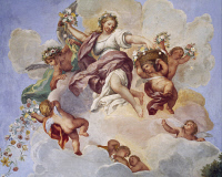 0327085 © Granger - Historical Picture ArchiveART & ARCHITECTURE.   Allegory of Spring, fresco by Carlo Maratta (1625-1713) and Ciro Ferri (1634-1689), Villa Falconieri La Rufina, Frascati. Italy, 17th century. Full credit: De Agostini / A. De Gregorio / Granger, NYC -- All rights rese