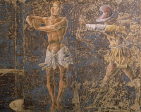 0327159 © Granger - Historical Picture ArchiveART & ARCHITECTURE.   An archer hitting a dean, detail from Sign of Libra, scene from Month of September, attributed to Ercole de'Roberti (ca 1455-1496), fresco, north wall, Hall of the Months, Palazzo Schifanoia (Palace of Joy), Ferrara, Emilia-Romagna . Italy, 15th century. Full credit: De Agostini / A. De Gregorio / Granger, NYC -- All rights reserved.
