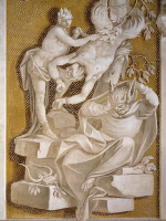 0327281 © Granger - Historical Picture ArchiveART & ARCHITECTURE.   Apollo and Marsyas, 1708, by Ludovico Dorigny (1654-1742), monochrome fresco on a gold background, Villa Manin, Passariano, fraction of Codroipo, Friuli-Venezia Giulia. Detail. Italy, 18th century. Full credit: De Agostini / A. Dagli Orti / Granger, NYC -- All rights reserved.
