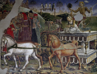 0327286 © Granger - Historical Picture ArchiveART & ARCHITECTURE.   Apollo's chariot pulled by horses and driven by Aurora, detail from Triumph of Apollo, scene from Month of May, ca 1470, by Francesco del Cossa (ca 1435-1477), fresco, east wall, Hall of the Months, Palazzo Schifanoia (Palace of Joy), Ferrara, Emilia-Romagna. Italy, 15th century. Full credit: De Agostini / A. De Gregorio / The Granger C