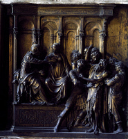 0327391 © Granger - Historical Picture ArchiveART & ARCHITECTURE.   Arrest of the Baptist, 1417-1427, by Lorenzo Ghiberti (1378-1455), gilded bronze, Baptistery of St John, Siena (UNESCO World Heritage List, 1995), Tuscany. Detail. Italy, 15th century. Full credit: De Agostini / A. De Gregorio / Granger, NYC -- All rights reserved.