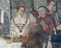 0327469 © Granger - Historical Picture ArchiveART & ARCHITECTURE.   Banquet in honor of King Christian of Denmark, detail of a fresco attributed to Marcello Fogolino (1480-1548). Baronial Hall of Malpaga Castle, Cavernago, Bergamo. Italy, 16th century. Full credit: De Agostini Picture Library / Granger, NYC -- All rights reserved.