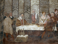 0327470 © Granger - Historical Picture ArchiveART & ARCHITECTURE.   Banquet in honor of King Christian of Denmark, detail of a fresco attributed to Marcello Fogolino (1480-1548). Baronial Hall of Malpaga Castle, Cavernago, Bergamo. Italy, 16th century. Full credit: De Agostini Picture Library / Granger, NYC -- All rights reserved.