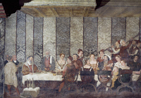 0327471 © Granger - Historical Picture ArchiveART & ARCHITECTURE.   Banquet in honor of King Christian of Denmark, fresco attributed to Marcello Fogolino (1480-1548). Baronial Hall of Malpaga Castle, Cavernago, Bergamo. Italy, 16th century. Full credit: De Agostini Picture Library / Granger, NYC -- All Rights Reserved.