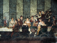 0327472 © Granger - Historical Picture ArchiveART & ARCHITECTURE.   Banquet in honor of King Christian of Denmark, fresco attributed to Marcello Fogolino (1480-1548). Baronial Hall of Malpaga Castle, Cavernago, Bergamo. Italy, 16th century. Full credit: De Agostini Picture Library / Granger, NYC -- All Rights Reserved.