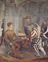 0327521 © Granger - Historical Picture ArchiveART & ARCHITECTURE.   Bartolomeo Colleoni overseeing preparations for a feast in honor of King Christian of Denmark in the courtyard of Malpaga Castle, detail from a fresco attributed to Marcello Fogolino (1480-1548). Baronial Hall of Malpaga Castle, Cavernago, Bergamo. Italy, 16th century. Full credit: De Agostini Picture Library / Granger, NYC -- All right