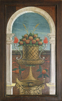 0327525 © Granger - Historical Picture ArchiveART & ARCHITECTURE.   Basket of Fruit, painting by Defendente Ferrari (1480 or 1485-1540) on the rear section of the 16th century choir, Church of Saint Jerome, Biella. Italy, 16th century. Full credit: De Agostini / A. De Gregorio / Granger, NYC -- All Rights Reserved.