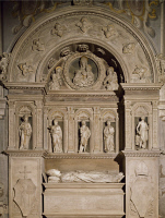 0327610 © Granger - Historical Picture ArchiveART & ARCHITECTURE.   Bishop Lorenzo Roverella's tomb, 1475, by Ambrogio Barocci (active 1470-1517) and Antonio Rossellino (1427-1479), St George the Martyr Basilica, Ferrara, Emilia-Romagna. Italy, 15th century. Full credit: De Agostini / A. De Gregorio / Granger, NYC -- All rights reserved.