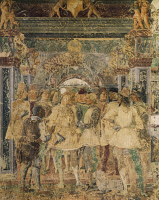 0327636 © Granger - Historical Picture ArchiveART & ARCHITECTURE.   Borso d'Este and his courtiers, scene from Month of July, ca 1470, fresco, north wall, Hall of the Months, Palazzo Schifanoia (Palace of Joy), Ferrara, Emilia-Romagna. Italy, 15th century. Full credit: De Agostini / A. De Gregorio / Granger, NYC -- All rights reserved.