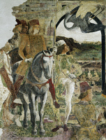 0327649 © Granger - Historical Picture ArchiveART & ARCHITECTURE.   Borso d'Este returning from hunting, scene from Month of April, ca 1470, by Francesco del Cossa (ca 1435-1477), fresco, east wall, Hall of the Months, Palazzo Schifanoia (Palace of Joy), Ferrara, Emilia-Romagna. Italy, 15th century. Full credit: De Agostini / A. De Gregorio / Granger, NYC -- All Rights Reserved.