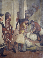 0327752 © Granger - Historical Picture ArchiveART & ARCHITECTURE.   Castle servants, busy preserving food and merchandise, fresco attributed to Marcello Fogolino (1480-1548). Baronial Hall of Malpaga Castle, Cavernago, Bergamo. Italy, 16th century. Full credit: De Agostini Picture Library / Granger, NYC -- All rights reserved.