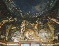 0327878 © Granger - Historical Picture ArchiveART & ARCHITECTURE.   Ceres attending events surrounded by hunting dogs and cherubs, detail from the Myth of Diana and Actaeon, ca. 1524, by Francesco Mazzola, known as Parmigianino (1503-1540), fresco, the east side of the Room of Diana and Actaeon, Rocca Sanvitale, Fontanellato, near Parma, Emilia-Romagna. Italy, 16th century. Full credit: De Agostini / A.